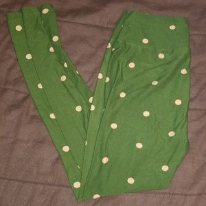 LuLa Roe One Size Green Pokie Dotted Leggings